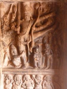 L'incarnation du nain de Vishnou (Vamana avatara) lançant un pied à la conquête du ciel